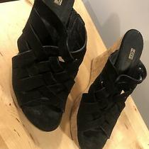 Ugg Womens Black Suede Woven Criss Cross Straps Wedge Mules Us Size 9. Photo