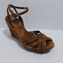Ugg Women's Brown Vintage Suede Strappy Platform Sandal Wedge Shoe Sz 7.5 Photo