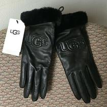 Ugg Women's Classic Leather Logo Gloves Black Size Small (See Note) Nwt Photo