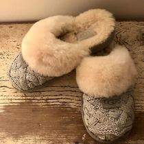 Ugg Womens Cozy Knit Light Gray Slippers Size 6 Shearling Lined Photo