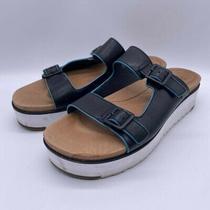 Ugg Women's Hanneli Platform Slide Sandals Shoes Black Leather Sz 8 Us  Photo