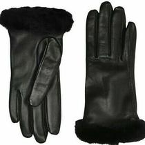 Ugg Women's Leather Black Gloves Fur Cuff - Wool Cashmere Blend Lining M New Tag Photo