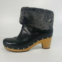 Ugg Women's Lynnea Leather Shearling Ankle Boots Size 8 Booties Clogs Black/gray Photo