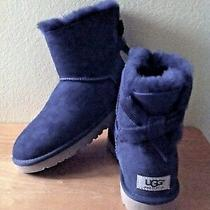 Ugg Women's Mini Peacoat Bailey Bow Cord Booties With Bow Blue Size 7 New in Box Photo