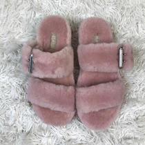 Ugg Women's Pink Fuzz Yeah Shearling Slide Sandals Slippers 110662 Size 6 Fur Photo