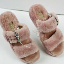 Ugg Women's Pink Fuzz Yeah Shearling Slide Sandals Slippers Size 7 Nwob Photo