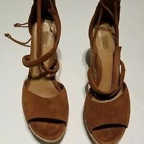 Ugg Women's Reagan Wedge Espadrille Tie Up Sandal Chestnut Suede Sz 8  Photo