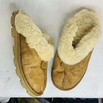 Ugg Women's Slippers Size 8 Tan Leather Shearling Lined Scuff Slip on Mule Worn Photo