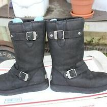 Ugg Women's Sutter Black Leather Moto Buckles Shearling Boots 1005374 Size 5 Photo