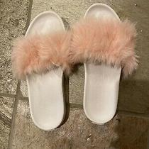 Ugg Women Slippers Sandals Size 8/8.5 Slip on Pink Fur Photo
