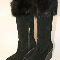 Ugg Womens 11 42 Valburg Suede Sheepskin Cuff Tall Zip Wedge Heel Boots 1018652 Photo