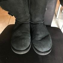 Ugg Womens Bailey Classic Short Black Boots Sheepskin Single Button 5803 Size 7 Photo