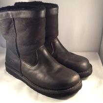 Ugg Womens Black Leather & Suede Boots Size 6 Medium Photo