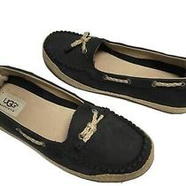 Ugg Womens Chivon Black Suede Flats Loafers Raffia Trim 1004111 Size 7.5b Photo