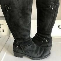 Ugg Womens Jillian 3051 Shearling Lined Black Suede Zip Up Heeled Boots Size 8.5 Photo
