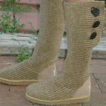 Ugg Womens Knit Sweater Tall Fold Over Button Boots- Tan- Size 8 Photo