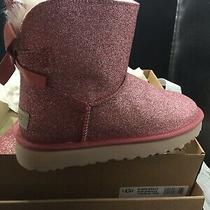 Ugg Womens Mini Bailey Bow Sparkle Ankle Boots Fur Australia Pink Size 7 Photo