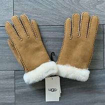 Ugg Womens Shearling & Sheepskin Gloves Chestnut Brown Nwt 155 Small Photo