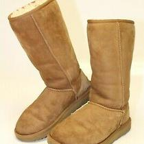 Ugg Womens Size 6 37 Classic Tall Suede Shearling Pull on Boots 1016224 Photo