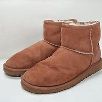Ugg Womens Slipper Ankle Boots Shoes Sheepskin Brown Suede Leather Size 6 Photo