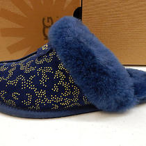 Ugg Womens Slippers Scuffette Ii Metallic Conifer Navy Size 8 Photo