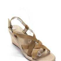 Ugg Womens Strappy Open Toe Casual Wedges Sandals Pumps Beige Leather Size 9 Photo