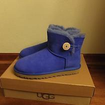 Ugg Womens Sz 10 Mini Bailey Button Sapphire Royal Blue Sheepskin Winter Boots  Photo