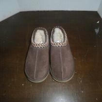 Ugg Womens Tasman Chestnut Brown Suede Slipper Embroidered Trim Size 6 Photo