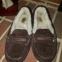 Ugg Woolined Brown Leather Slippers Women's Size 8 Photo