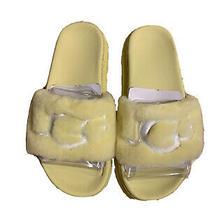 Ugg Yellow Laton Fur Sheepskin Slide Sandals Women Us 6/eur 37 Nib Photo