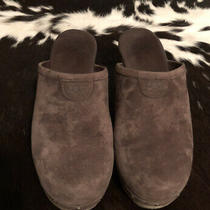 Uggs-Abbie-5772-Mule-Clog-Wood-Heel-Studded-Sherpa-Suede Womens Brown Size 6 Photo