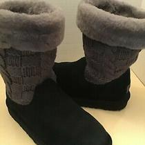 Uggs Australia Juniper Cuffed Girls Youth Black Suede Sweater Boots Size 2 Photo