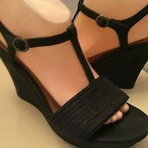 Uggs Australia Women Black Leather Canvas Wedge Sandals Size 9 Photo
