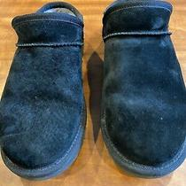 Uggs Black Suede Classic Slipper Mules Slip on Shoes 9 Euc Indoor Outdoor Photo