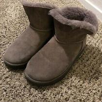 Uggs Boots Short Cuff Mini Gray Good Condition Size 7 Suede Sheepskin Shearling Photo