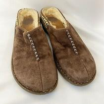 Uggs Brown Suede Leather Fur Lined Slip on Mules Womens Size 8 Photo
