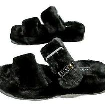 Uggs Fuzz Yeah Black Slippers Womens Size 8 Black Sheepskin Fur Photo