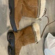 Uggs S/n 5273 Ultimate Cuff Tie Winter Boots Chestnut/sheepskin Women Size 7 Photo