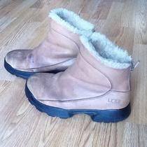 Uggs S/n 5385 Sheepskin Lined Leather Back Zip Ankle  Boots Camel Womens 8 Used Photo