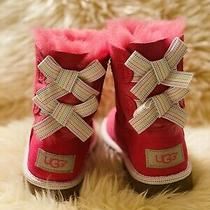 Uggs Toddler Kids Ugg Size 8 Bow Boots Pink Photo