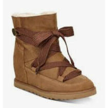 Uggs Ugg Australia Classic Femme Lace Up Ankle Bootie Boots Chestnut 8.5 Photo