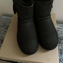 Uggs Womens Black Boots Booties With Bow Accent Size 8 Photo