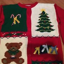 Ugly Christmas Sweater Womens S/m Christie Brooks Teddy Bear Present Photo