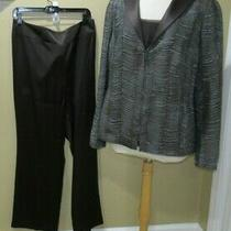 Ultimate Akris 3 Pc Pantsuit Dk Brown Jkt-Shell-Pant Sz-16 5000 Photo