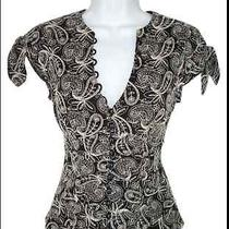 Ultra High End Nanette Lepore Embroidered Cap Sleeve Top Blouse 2 Photo