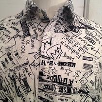 Ultra Rare Early 90s Vtg Moschino Novelty Newspaper Print Slogan Shirt Mens Lg Photo
