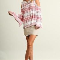 Umgee Blush Stripe Cold/open Shoulder Bell Sleeves Tunic/top/blouse L Sassy Sky Photo