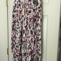 Umgee Floral Flare Tunic Keyhole Dress Boho Lg Sleeves  Pink Blush  Large Photo