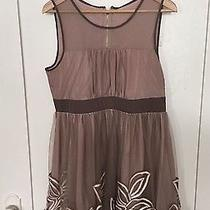 Unbranded- Blush/pink Sleeveless Tulle Flower Overlay Below Knee Dress- Size L Photo