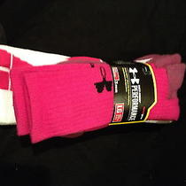 Under Armour 3 Pack Athletic Crew Socks Pink Us Men's 9-12.5 Women's 11-13 Photo